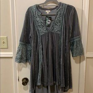 Beautiful Grey velvet blouse or dress